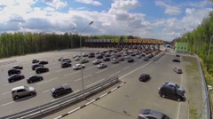 Many cars near fee station on northern bypass of Solntsevo Stock Footage