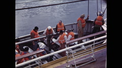 Boarded Life Boat along side Ship Stock Footage
