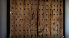 Ancient Door Glastonbury Abbey Stock Footage