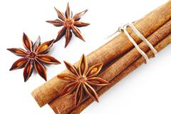 Star anise with cinnamon - stock photo