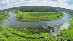 Landscape with river among forest at summer sunny day. Stock Footage