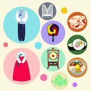 Korean traditional elements vector set Stock Illustration