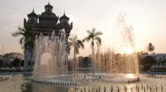 Patuxai with fountain,Vientiane,Laos Stock Footage