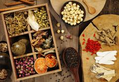 Chinese herbal medicine and flower tea Stock Photos