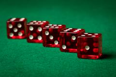 Five red dices Stock Photos
