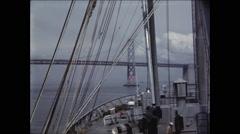 Ship Approaches Oakland Bay Bridge Stock Footage