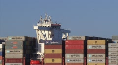 Close up nautical bridge of MSC Oscar, the worlds largest container ship Stock Footage