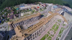 Hotel-town Gorky Gorod with Marriott Krasnaya Polyana Hotel Stock Footage