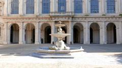 Facade and fountain. Palazzo Barberini, Rome, Italy. 1280x720 Stock Footage