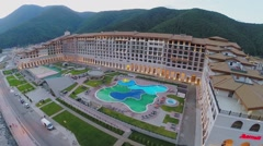 Marriott Krasnaya Polyana Hotel with pool at summer Stock Footage