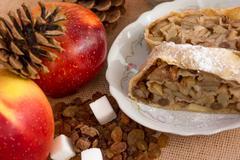 Apple strudel pie - stock photo