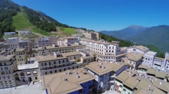 Panorama of mountain town Gorky Gorod at summer sunny day Stock Footage