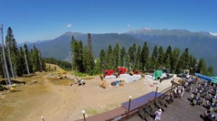 Building site on slope of mountain at summer sunny day. Stock Footage