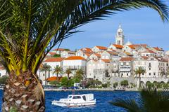 Picturesque Old Town Korcula and harbour, Korcula, Dalmatia, Croatia, Europe - stock photo