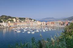 Baia del Silenzio Bay, old town, Sestri Levante, Province Genoa, Riveria di - stock photo