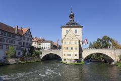Old Town Hall, UNESCO World Heritage Site, Regnitz River, Bamberg, Franconia, Stock Photos