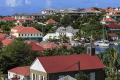 Elevated view of Anglican church and harbour, Gustavia, St. Barthelemy (St. - stock photo