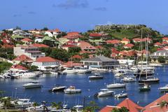 Elevated view of Fort Oscar and harbour, Gustavia, St. Barthelemy (St. Barts) Stock Photos