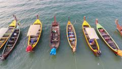 Longtail boats aerial row Stock Footage