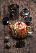 Hookah and dry elite tea leaves Stock Photos