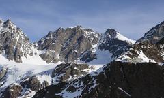 The Marinelli Hut hidden at the foot of the mountain range in Valmalenco, Stock Photos