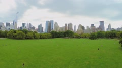 Central Park with many citizens get fun on Sheep Meadow at summer - stock footage