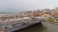Planes in Sea-Air-Space museum on ship USS Intrepid (CV-11) Stock Footage