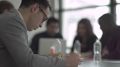 Profile of a Professional Caucasian Man in a Meeting (8 of 9) Stock Footage