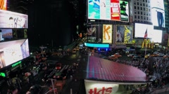Night traffic on Times Square, New-York. Aerial view. Stock Footage