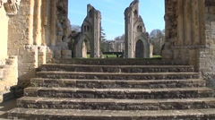 Ruins Abbey Glastonbury Ancient Steps Stock Footage