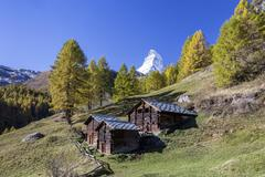 The unique shape of the Matterhorn seen from a little group of mountain huts by Kuvituskuvat