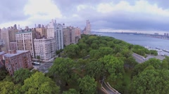 City traffic on crossroad of West 79th street with Riverside Drive Stock Footage