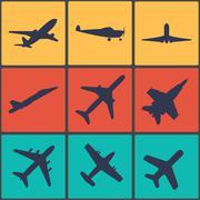 Airplane sign. Plane symbol. Travel icon. Flight flat label. Stock Illustration