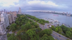 Cars ride by Henry Hudson Parkway near Riverside Park Stock Footage
