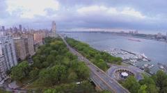 City traffic on Henry Hudson Parkway near Riverside Park Stock Footage