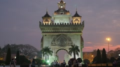 Patuxai in the evening with tourists,Vientiane,Laos Stock Footage