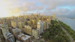 Cityscape with traffic Henry Hudson Parkway near Riverside Park Stock Footage
