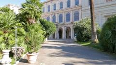 Facade and the park. Palazzo Barberini, Rome, Italy. 4K Stock Footage