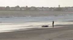 Stock Video Footage of windsurfing on the bay of La Baule