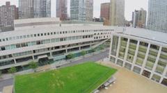 Juilliard School and Avery Fisher Hall near Hearst Plaza Stock Footage