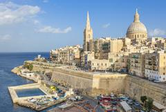 Valletta skyline with the dome of the Carmelite Church and St. Pauls Anglican - stock photo