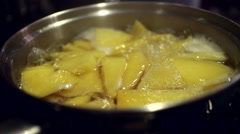 Boiling Potatoes In Pot CU Stock Footage
