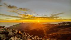 Rising Sun, Haleakala National Park mountain range summit - stock footage