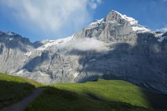 Wetterhorn 3692m, Jungfrau-Aletsch, UNESCO World Heritage Site, Swiss Alps, - stock photo