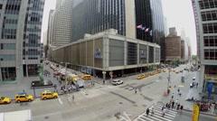 Hilton Midtown Manhattan Hotel on Sixth Avenue with traffic Stock Footage