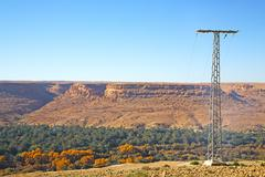 Utility pole in africa morocco energy and distribution pylon Stock Photos