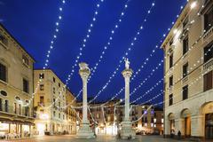 Christmas decorations in Piazza Signori, Vicenza, UNESCO World Heritage Site, Stock Photos