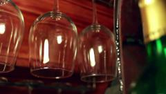 Hanging Wine Glasses in Bar Stock Footage