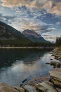 Mount Kerkeslin reflected in Horseshoe Lake, Jasper National Park, UNESCO World - stock photo
