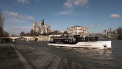 Seine River with famus Notre Dame Cathedral, Paris - 60fps Stock Footage